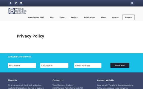 Screenshot of Privacy Page worldbusiness.org - Privacy Policy - World Business Academy - captured July 3, 2017