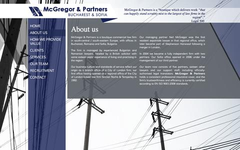 Screenshot of About Page mcgregorlegal.eu - McGregor & Partners | About the law firm - captured Oct. 27, 2014