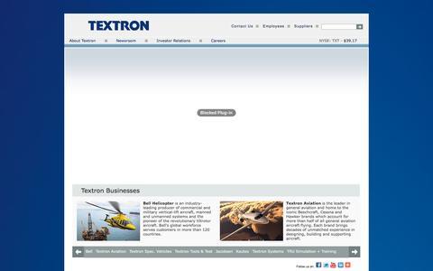 Screenshot of Home Page textron.com - Textron Home - captured Oct. 23, 2015