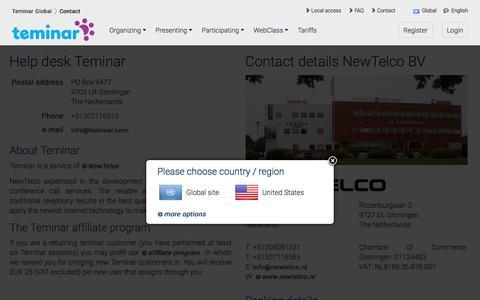 Screenshot of Contact Page teminar.com - Contacting Teminar - Teminar Global - captured May 8, 2017