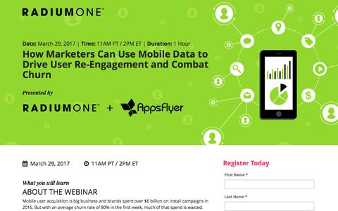 Screenshot of Landing Page radiumone.com - How Marketers Can Use Mobile Data to Drive User Re-Engagement and Combat Churn - captured March 22, 2017