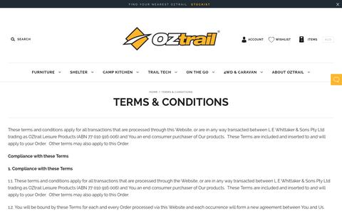 Screenshot of Terms Page oztrail.com.au - Terms & Conditions                         – OZtrail - captured Oct. 15, 2018