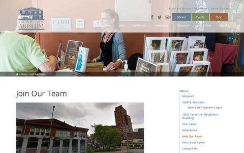 Screenshot of Jobs Page eriecanalmuseum.org - Join Our Team - Erie Canal Museum - captured July 18, 2018