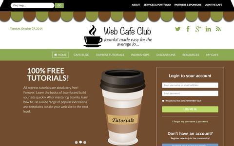 Screenshot of Home Page webcafeclub.com - Web Cafe Club | Joomla Tutorials - captured Oct. 7, 2014