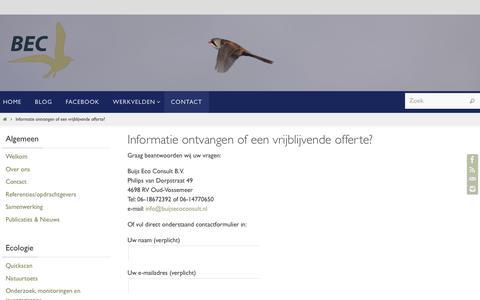 Screenshot of Contact Page buijsecoconsult.nl - Informatie ontvangen of een vrijblijvende offerte? | Buijs Eco Consult BV - captured Oct. 11, 2017