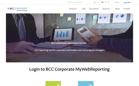 Screenshot of Login Page bcc-corporate.be - Login to MyWebReporting BCC Corporate | BCC Corporate - captured March 4, 2018