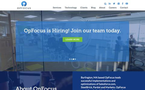 Screenshot of Home Page opfocus.com - Strategic Salesforce, SteelBrick, Marketo and Pardot Implementation Experts | OpFocus - captured March 19, 2016