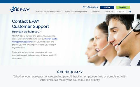 Screenshot of Support Page epaysystems.com - Customer Support for Workforce Management Software - captured Feb. 27, 2018