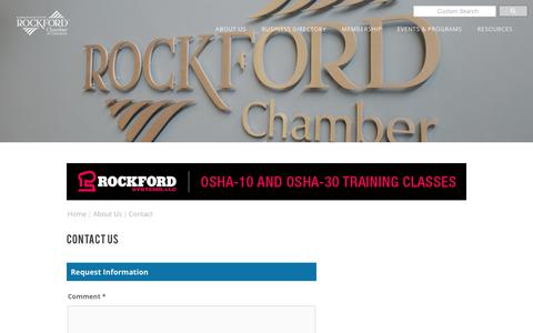 Screenshot of Contact Page rockfordchamber.com - Contact Us | Rockford Chamber of Commerce | Rockford, IL - captured Oct. 18, 2018