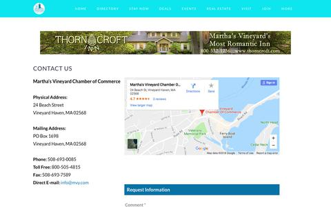 Screenshot of Contact Page mvy.com - Contact Us | Martha's Vineyard Chamber of Commerce | Vineyard Haven, MA - captured Feb. 20, 2018