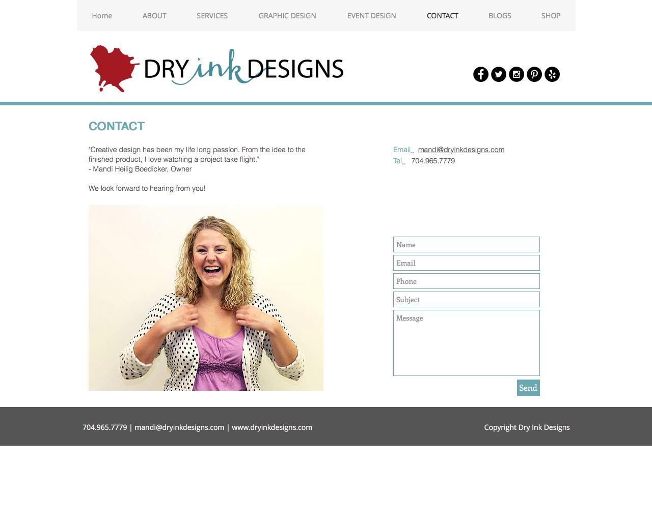 Screenshot of dryinkdesigns.com - Contact - captured June 5, 2017
