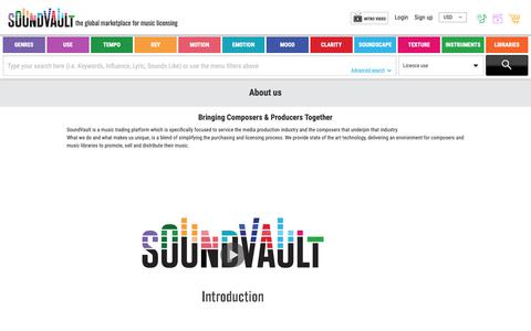 Screenshot of About Page soundvault.tv - SoundVault - About - captured Oct. 23, 2018