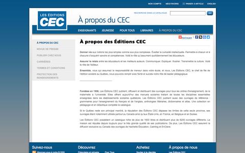 Screenshot of About Page editionscec.com - CEC - captured Oct. 3, 2016