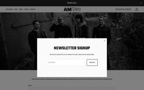 Screenshot of Contact Page amtaximusic.com - Contact — AM Taxi - captured Oct. 26, 2018