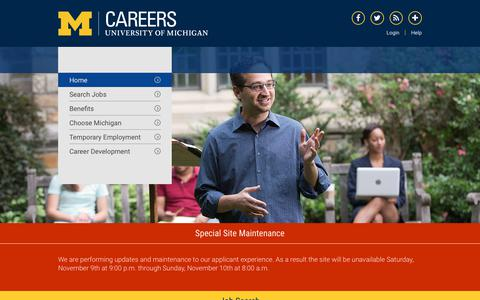 Screenshot of Jobs Page umich.edu - Home | U-M Careers - captured Nov. 6, 2019