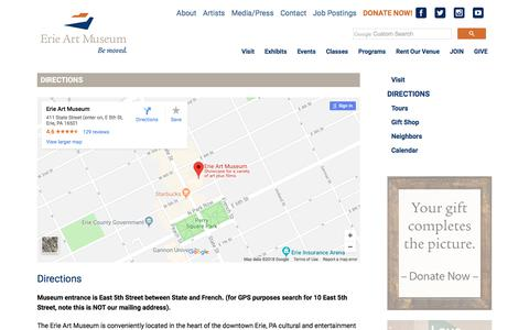 Screenshot of Maps & Directions Page erieartmuseum.org - The Erie Art Museum   –  Directions - captured July 21, 2018