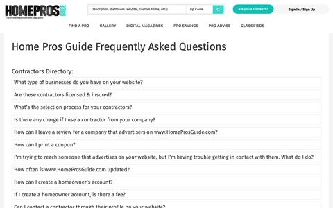 Screenshot of FAQ Page homeprosguide.com - Home Owner Frequently Asked Questions | Home Pros Guide Magazine - captured Dec. 8, 2018