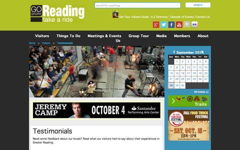 Screenshot of Testimonials Page gogreaterreading.com - Testimonials | Visitors | Greater Reading Convention and Visitors Bureau - captured Sept. 30, 2014