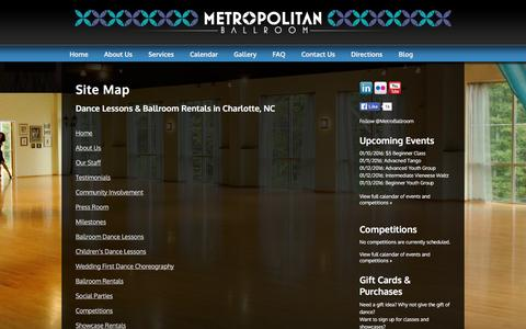 Screenshot of Site Map Page metropolitan-ballroom.com - Ballroom Rentals & Dance Lessons in Charlotte NC | Metropolitan Ballroom | Metropolitan Ballroom - captured Jan. 10, 2016
