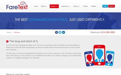 Screenshot of Services Page faretext.co.uk - FareText - Services - captured Oct. 13, 2017