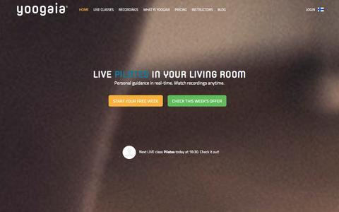 Screenshot of Home Page yoogaia.com - Yoogaia | Live, interactive online yoga - captured Sept. 23, 2014