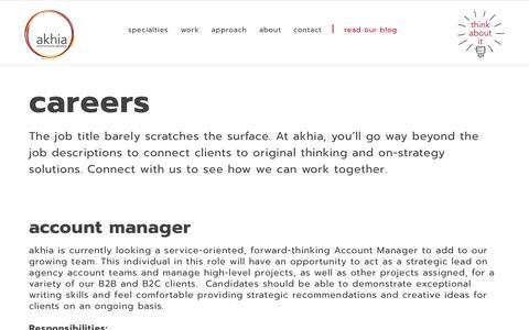 Screenshot of Jobs Page akhia.com - Public Relations, Marketing, Business Integration | AKHIA - Akhia Communications | Careers - captured June 15, 2018