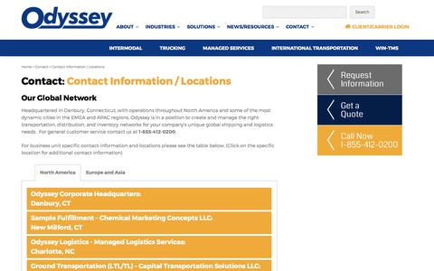 Screenshot of Locations Page odysseylogistics.com - Contact Information / Locations - Odyssey Logistics & Technology - captured July 9, 2017