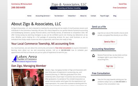 Screenshot of About Page dzaccounting.com - About Zigo & Associates, LLC | Accounting Firm in Commerce Township, MI | Oak Park - captured Oct. 19, 2018