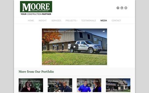 Screenshot of Press Page moore-cs.com - Moore Construction Services   MEDIA - captured Dec. 1, 2016