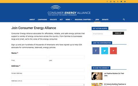 Screenshot of Signup Page consumerenergyalliance.org - Join Consumer Energy Alliance - Consumer Energy Alliance - captured July 20, 2018