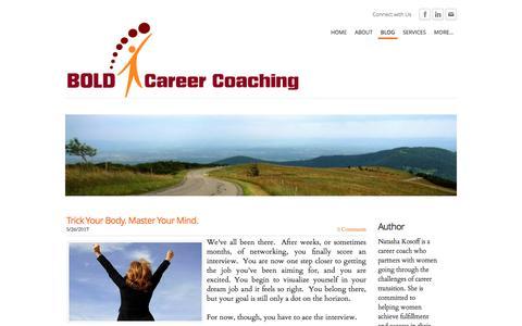 Screenshot of Blog boldcareercoaching.com - BOLD CAREER COACHING - Blog - captured May 31, 2017
