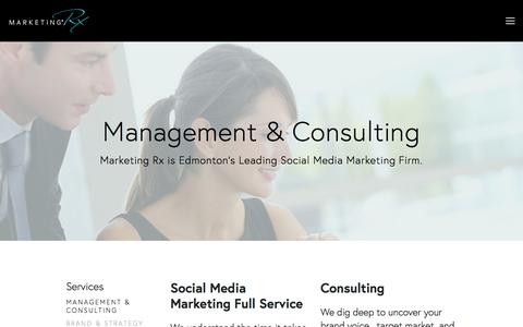Screenshot of Services Page marketingrx.ca - Management & Consulting — Marketing RX - captured Oct. 17, 2017