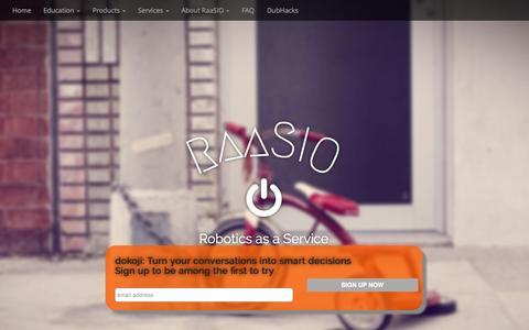 Screenshot of Home Page raasio.com - RaaSIO | Robotics as a Service - captured Aug. 16, 2015
