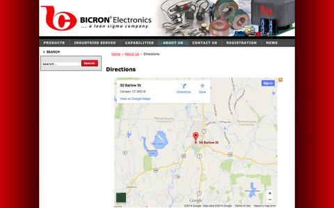 Screenshot of Maps & Directions Page bicronusa.com - Directions - captured Oct. 5, 2014
