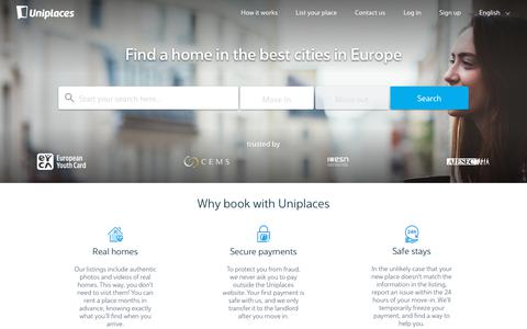 Screenshot of Home Page uniplaces.com - Rooms for rent: Apartments and Student Accommodation - Uniplaces - captured Aug. 21, 2019