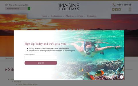 Screenshot of Site Map Page imagineholidays.co.za - Sitemap - Imagine Holidays - captured May 27, 2017