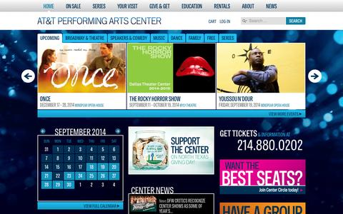 Screenshot of Home Page Menu Page attpac.org - AT&T Performing Arts Center | Buy Tickets, Calendar, Venue Info - captured Sept. 18, 2014