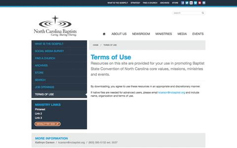 Screenshot of Terms Page ncbaptist.org - NC Baptist: Terms of Use - captured Oct. 5, 2014