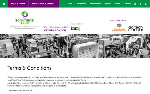 Screenshot of Terms Page ecommerceexpo.co.uk - Terms & Conditions - eCommerce Expo 2018 - The all new eCommerce Expo. Packed with more content, better solutions and inspiration like never before. - captured Oct. 21, 2018