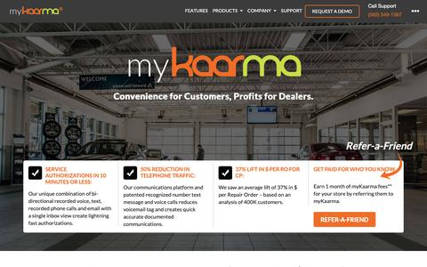 Screenshot of Home Page mykaarma.com - Auto Dealer Solutions | Automotive Service communication and Scheduling Software - captured Nov. 15, 2018