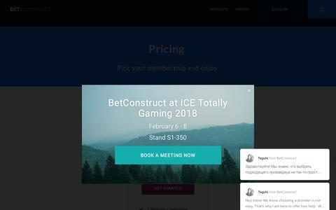 Screenshot of Pricing Page betconstruct.com - Pricing - Betconstruct - captured Feb. 7, 2018