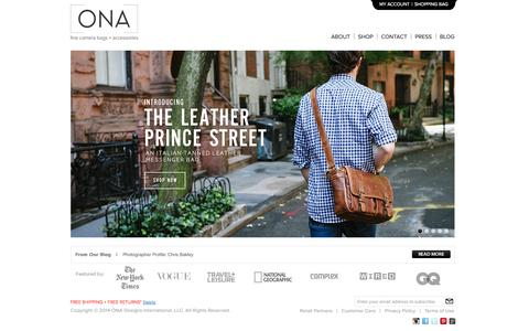 Screenshot of Home Page onabags.com - ONA |  Stylish Camera Bags | Leather Camera Bags | DSLR and Laptop Bags - captured Sept. 23, 2014