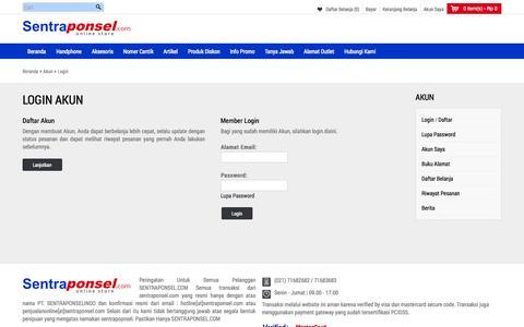 Screenshot of Login Page sentraponsel.com - Login Akun - captured Sept. 19, 2014
