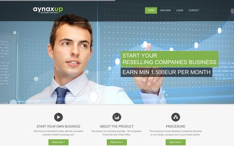 Screenshot of Home Page aynaxup.com - AYNAXUP || business solutions - captured Sept. 30, 2014