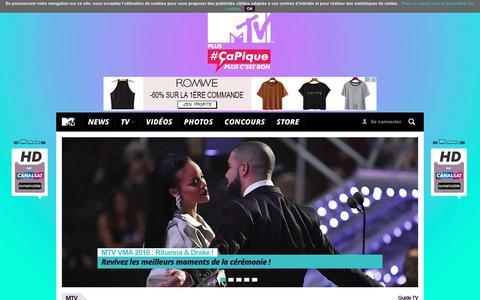 Screenshot of Home Page mtv.fr - MTV - captured Sept. 1, 2016