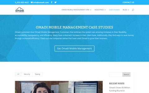 Screenshot of Case Studies Page omadi.com - Omadi Case Studies - Omadi Mobile Management - captured Jan. 12, 2016