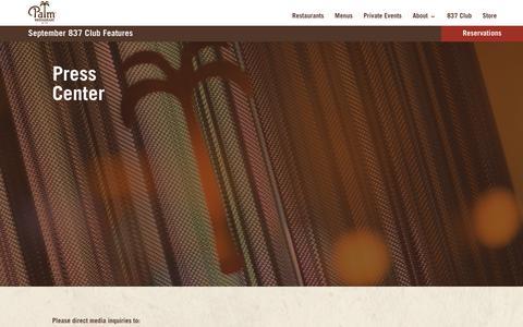 Screenshot of Press Page thepalm.com - Press - The Palm - captured Sept. 26, 2018