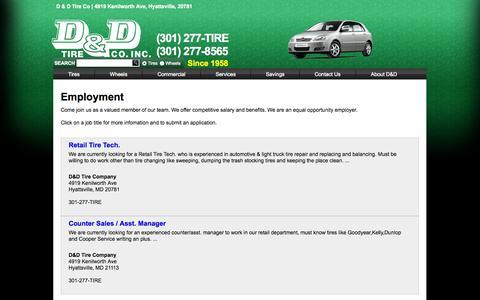 Screenshot of Jobs Page ddtires.com - D&D Tires - Jobs - captured Oct. 2, 2014