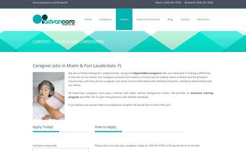 Screenshot of Jobs Page advancare.net - Caregiver Jobs   Home Care    Advancare - captured Nov. 12, 2018