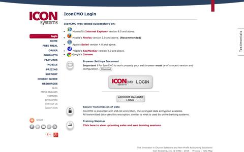 Screenshot of Login Page iconcmo.com - Church Management Software by Icon Systems :: Login - captured Oct. 10, 2014